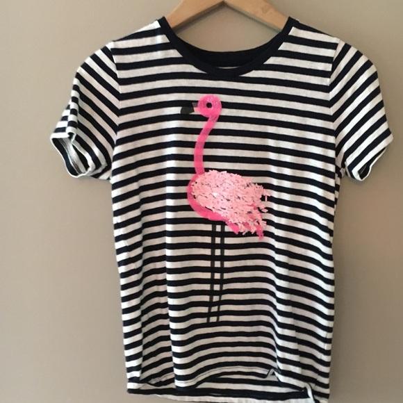 9225e480 J. Crew Tops   J Crew Stripe Flamingo Tee Shirt   Poshmark